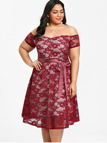 Plus Size Off The Shoulder Lace Party Dress