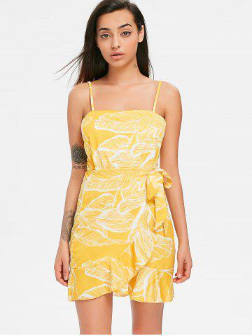 Print Ruffle Spaghetti Strap Dress