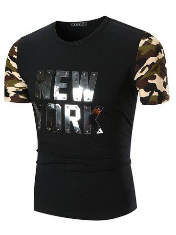 Camo Sleeve Sequined Letter Print T-shirt
