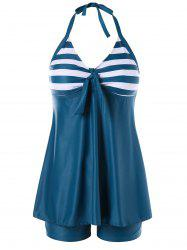 Boyshort Skirted Stripe Backless Tankini -