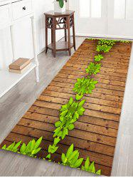 Fresh Leaves On the Wood Board Printed Area Mat -