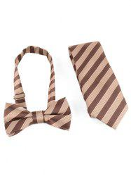 Striped Pattern Silky Shirt Tie and Bowtie -