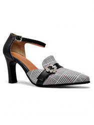 Plaid Pattern Crystal Ankle Strap Pumps -