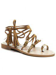 Lace Up Crisscoss Tassels Sandals -