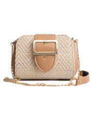 Straw Square Buckled Leisure Crossbody Bag -