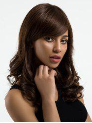 Long Side Bang Wavy Human Hair Wig -