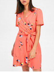Heart Print Tulip Wrap Dress -