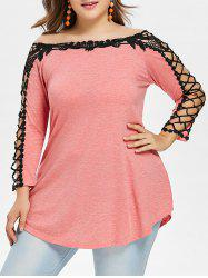 Plus Size Contrast Lace Trim Tunic T-shirt -