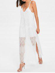 Sleeveless Lace Overlay Beach Dress -