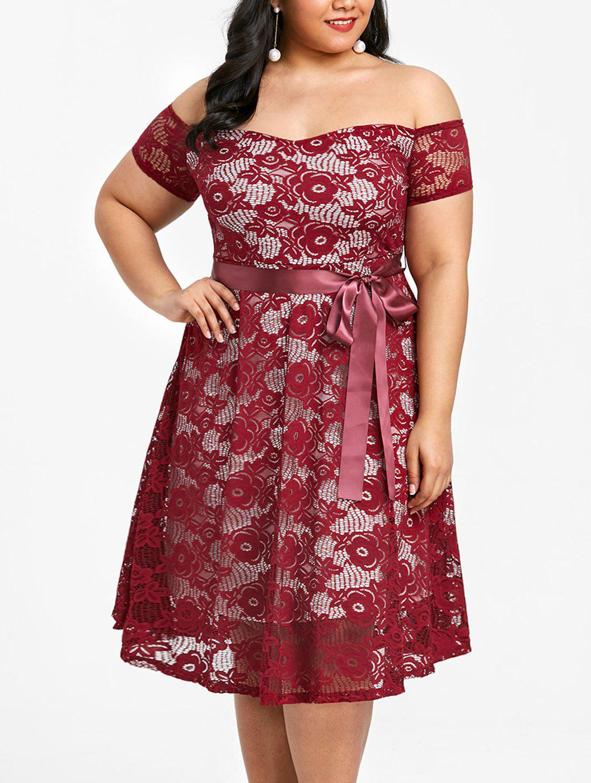Outfits Plus Size Off The Shoulder Lace Party Dress