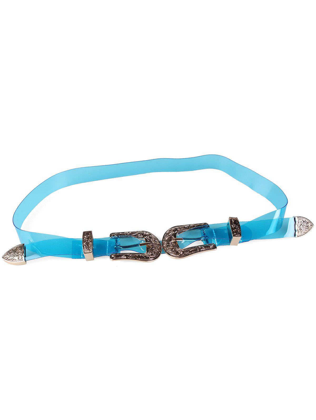 Affordable Stylish Jelly Color Double Head Buckle Waist Belt