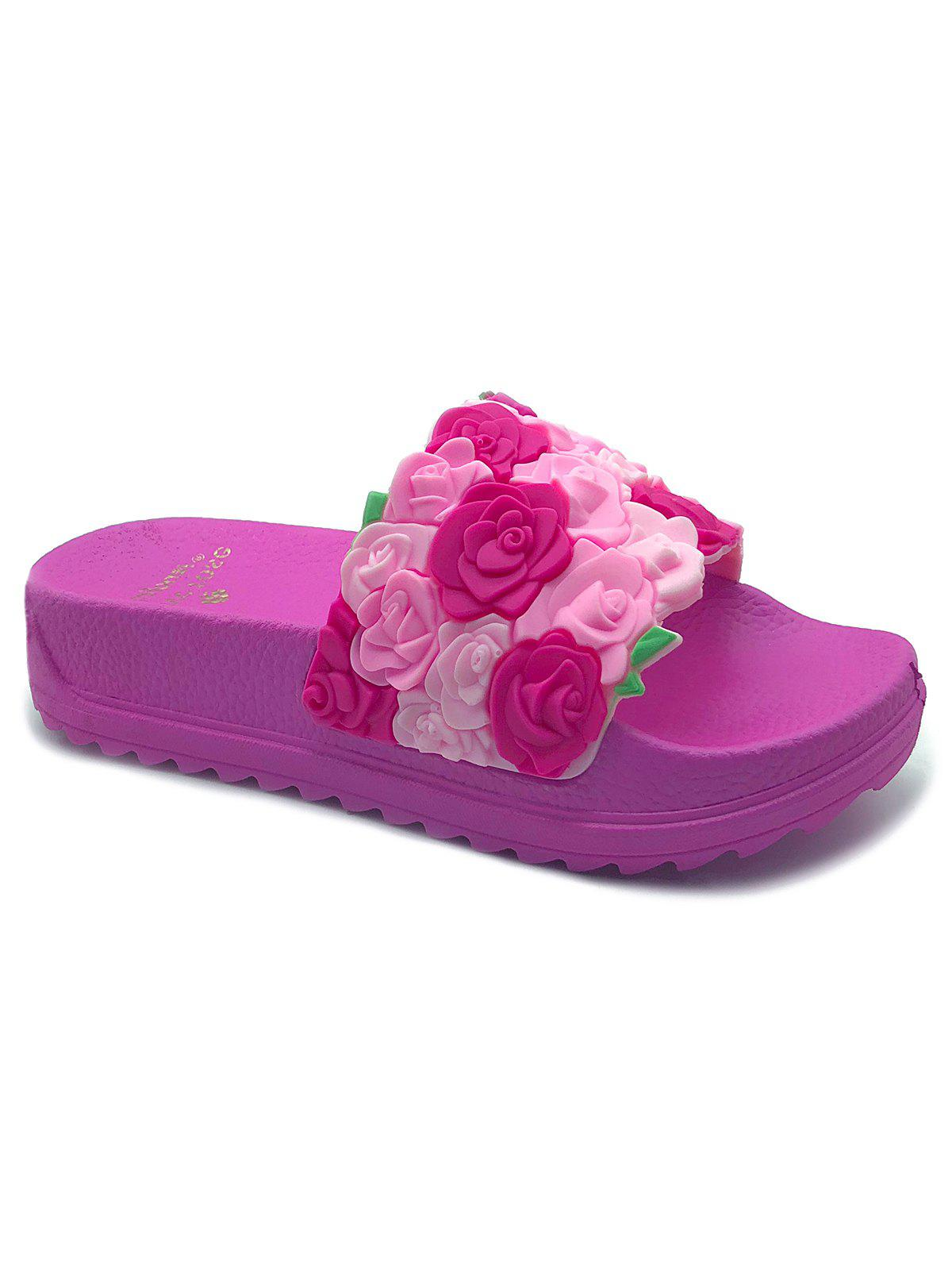Buy Roses Slip On Indoor and Outdoor Platform Slippers