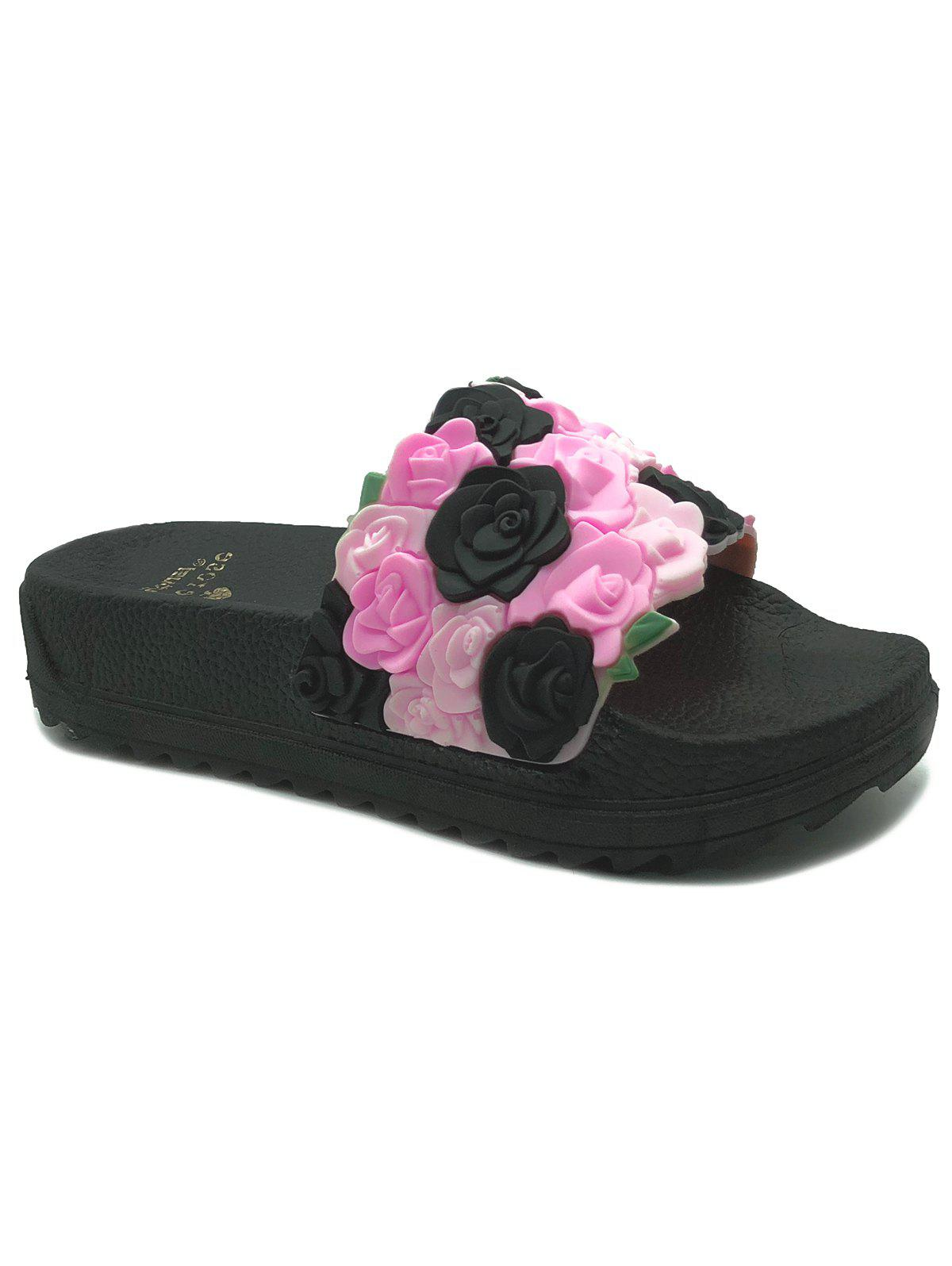 Trendy Roses Slip On Indoor and Outdoor Platform Slippers