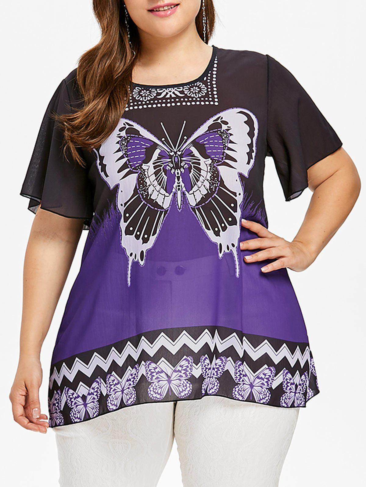 Discount Plus Size Butterfly Pattern T-shirt
