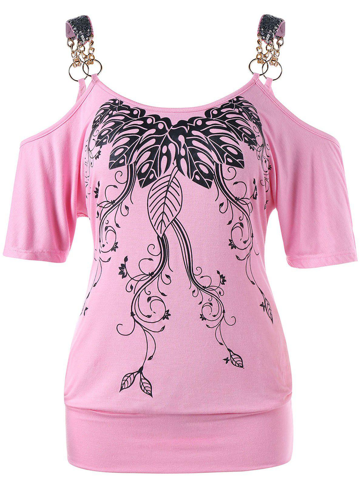 Best Cold Shoulder Leaf Printed T-shirt
