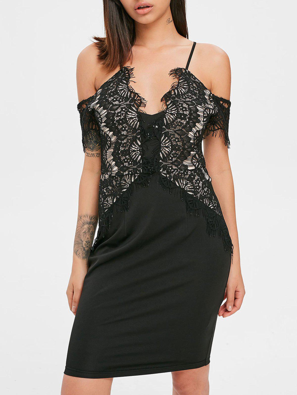 Store Lace Eyelash Criss Cross Back Dress