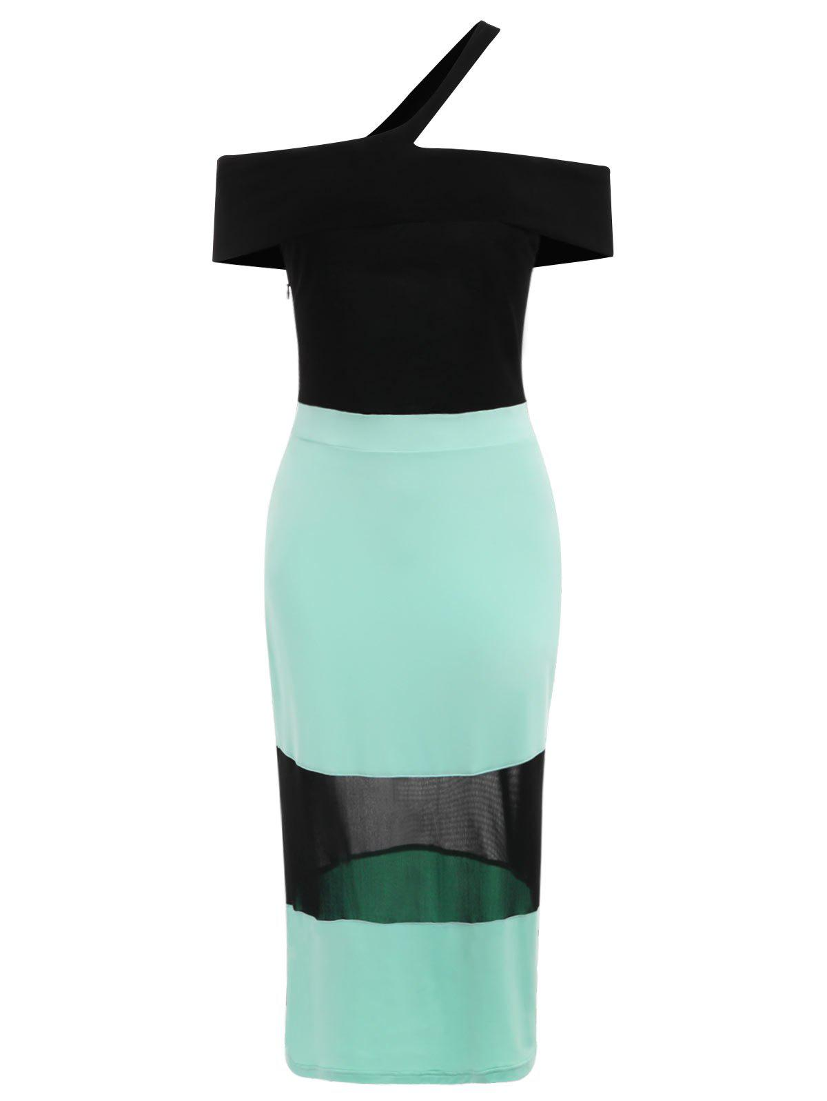 Hot Off The Shoulder Color Block Dress