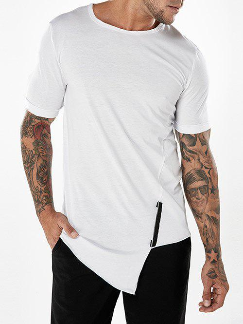 Buy Zipper Ornament Oblique Hem T-shirt