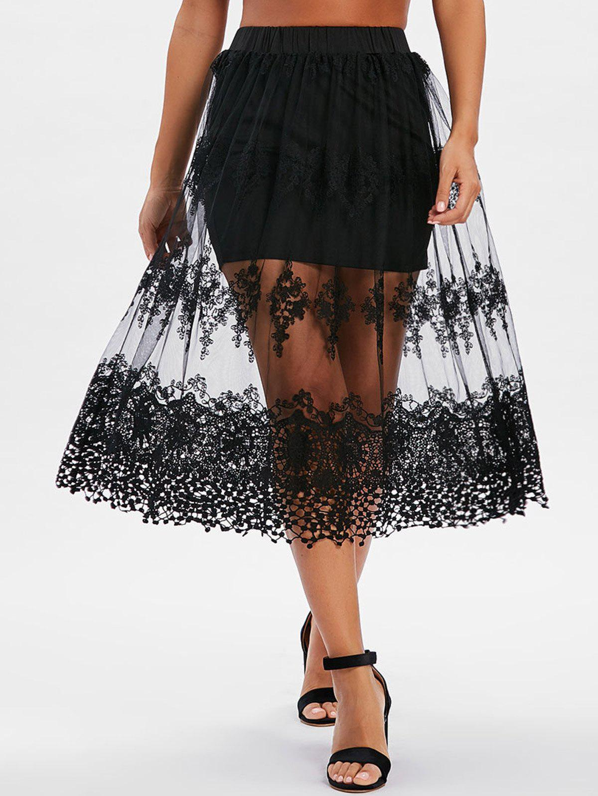 Fancy Mesh Crochet See Thru Skirt