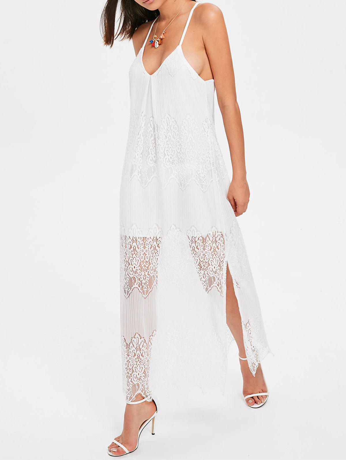 Store Sleeveless Lace Overlay Beach Dress