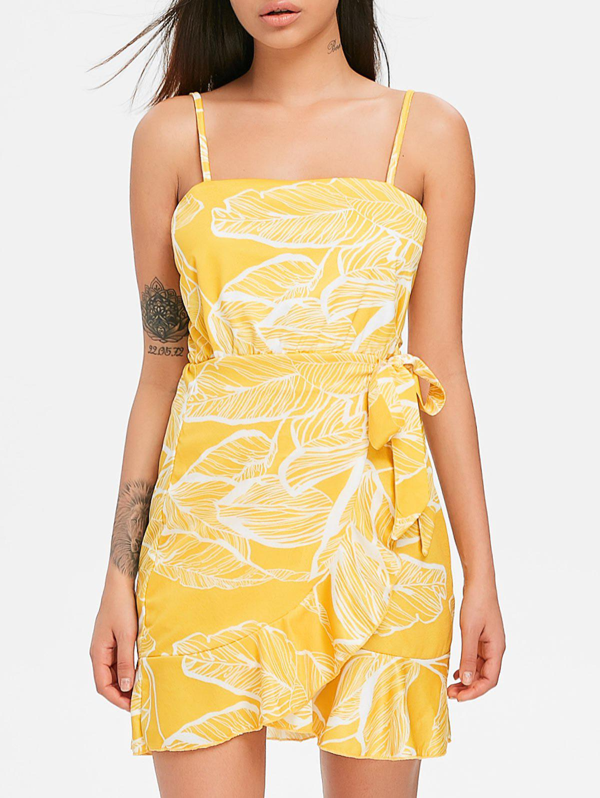 Hot Print Ruffle Spaghetti Strap Dress