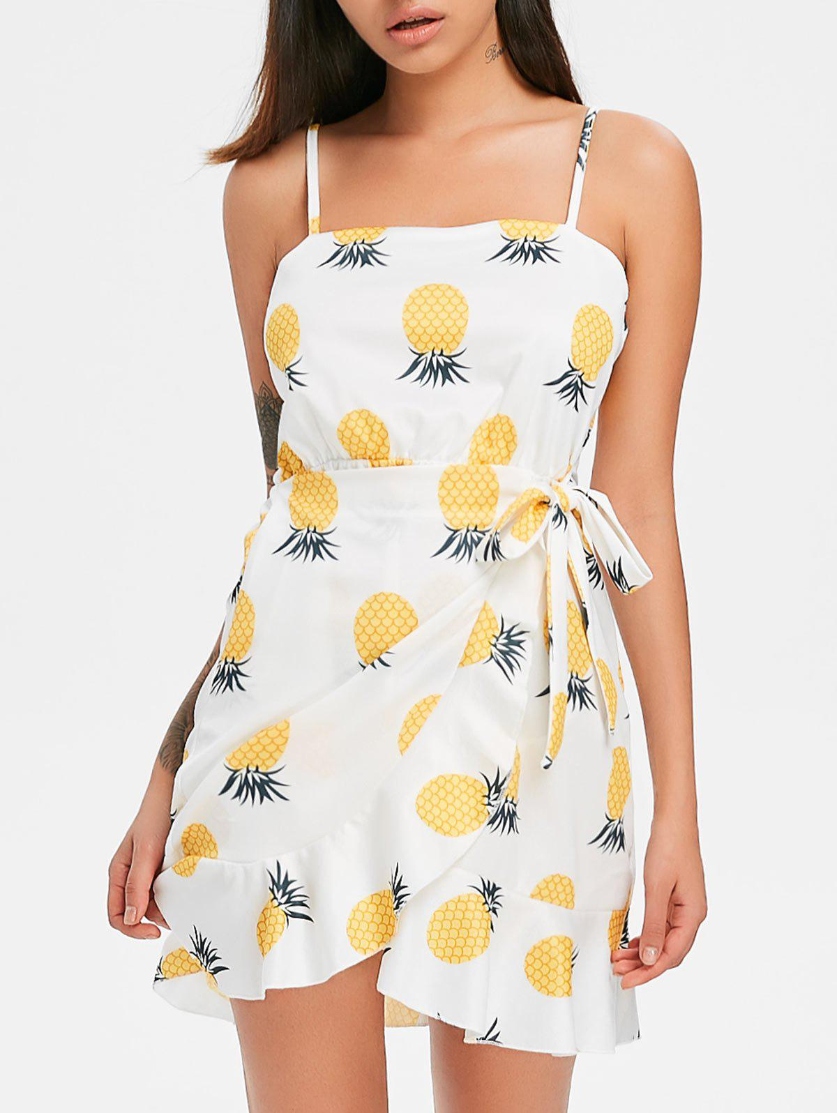 Affordable Print Ruffle Spaghetti Strap Dress