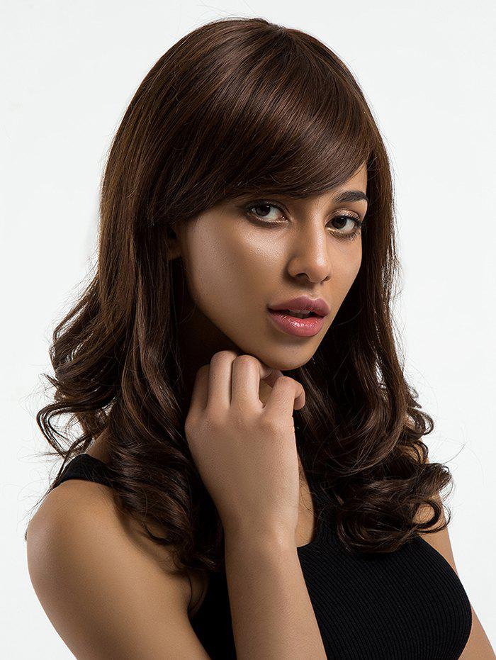 Latest Long Side Bang Wavy Human Hair Wig