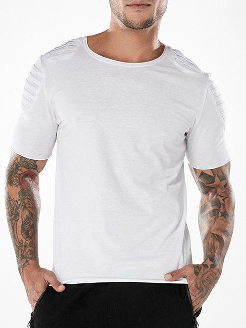 Latest Short Sleeve Plated Shoulder Tee Shirt