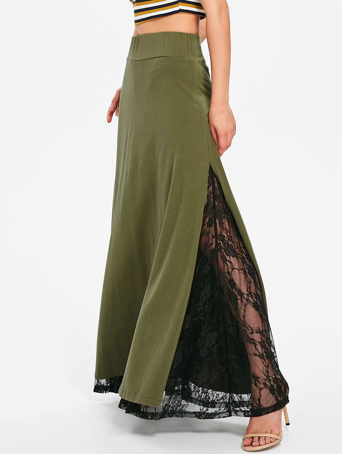 New High Waisted Lace Insert Long Skirt
