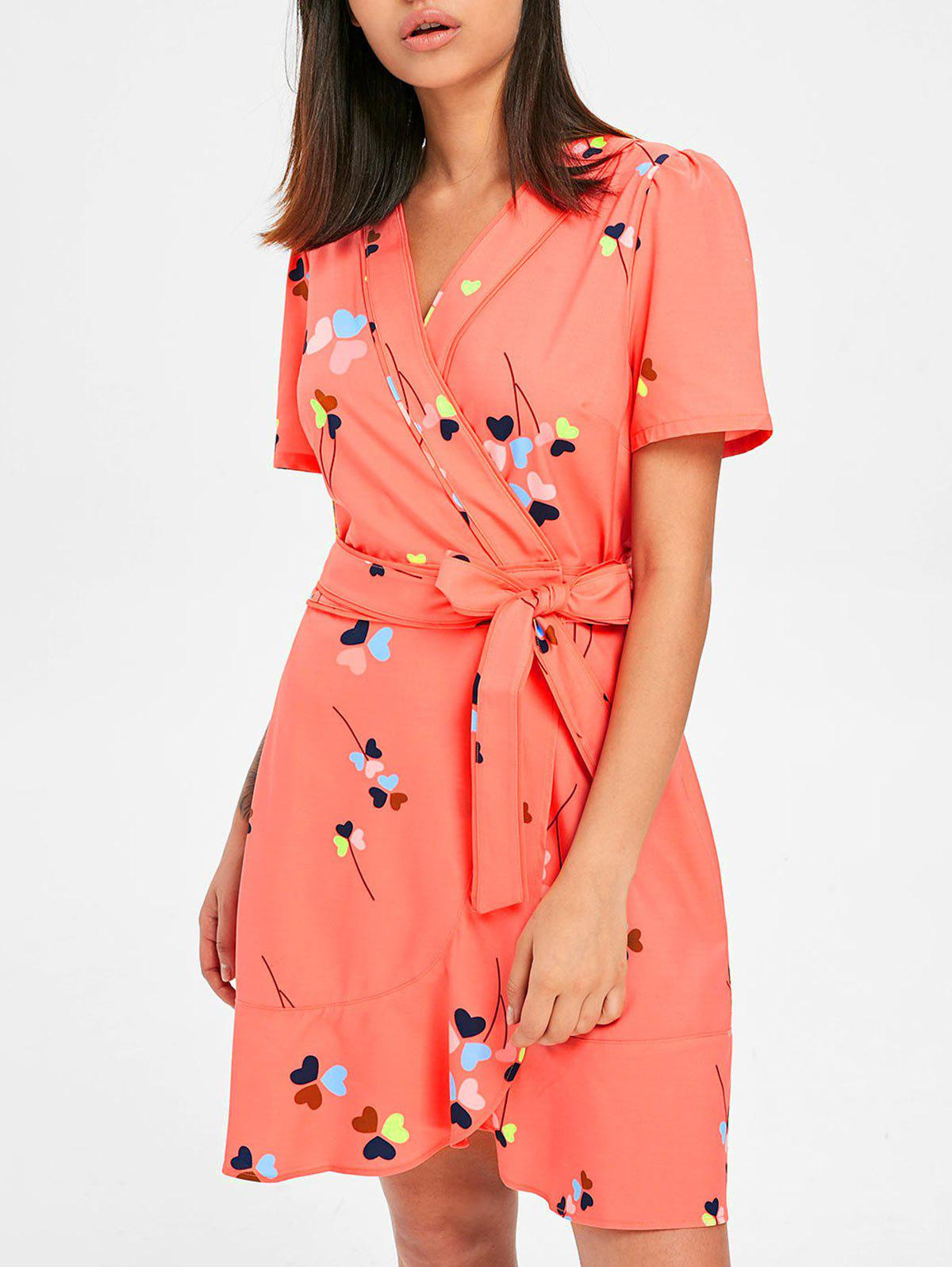 Cheap Heart Print Tulip Wrap Dress