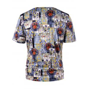 Crew Neck Short Sleeve Ethnic Print T-shirt -