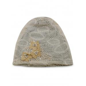 Stylish Faux Pearl Flowers Lace Beanie -