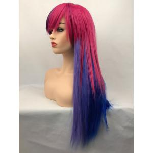 Long Inclined Bang Colormix Straight Synthetic Cosplay Wig -
