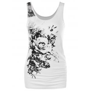 Rose Print Fitted Tank Top -