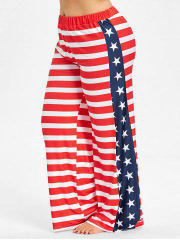 New Plus Size American Flag Wide Leg Pants