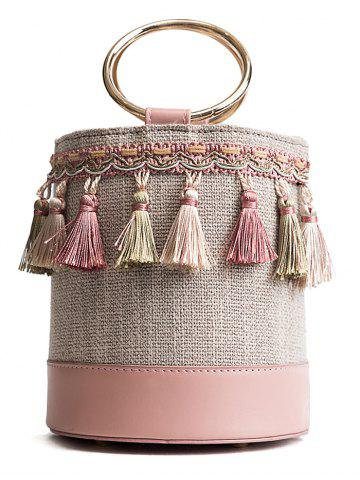Trendy Patchwork Bohemia Tassel Decor Bucket Bag