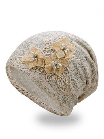 Affordable Stylish Faux Pearl Flowers Lace Beanie