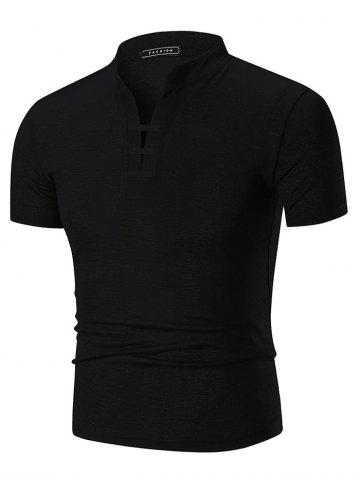 Solid Color Stand Collar Split Neck T shirt