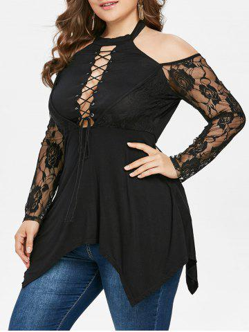 Chic Plus Size Halter Neck Lace Up T-shirt