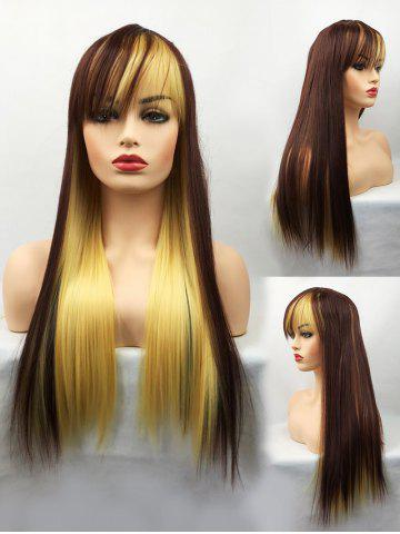 Chic Long Inclined Bang Straight Colormix Party Cosplay Synthetic Wig