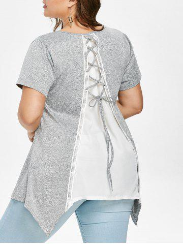 Shops Plus Size Lace Up Back Handkerchief T-shirt