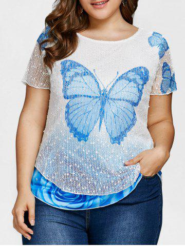 Fancy Layered Butterfly Print Plus Size Casual Tee