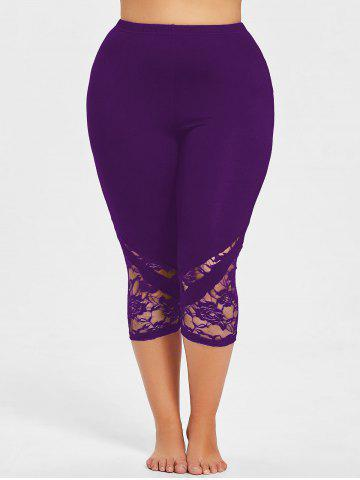 Lace Panel Plus Size Cropped Leggings