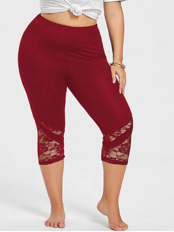 Store Lace Panel Plus Size Cropped Leggings