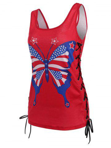 American Flag Patriotic Lace-up Tank Top