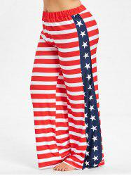 Plus Size American Flag Wide Leg Pants -
