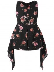 Plus Size Floral Print Asymmetric Top -