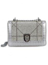 Shimmer Rhinestone Decorated Crossbody Bag with Chain -