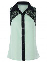 Button Up Sleeveless Lace Design Shirt -