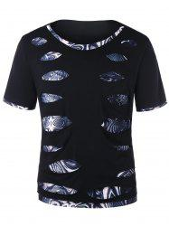 Short Sleeve Trippy Print Ripped Tee -